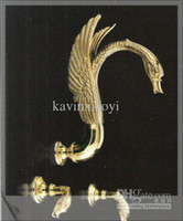 Wholesale gold pvd finish brass swan wall mounted faucet swan shower faucet pop square
