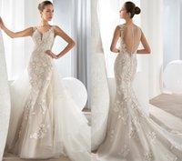 Cheap 2016 lace mermaid wedding dresses beaded sheer v neck court train plus size applique Vestido De Noiva buttons bridal gowns demetrios 626