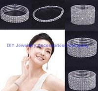 Wholesale 10PCS one two tenRows Rhinestone Austria CZ Bracelets Crystal Wedding Bride Stretchy Bangle Wristband Jewelry Bracelet
