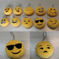 Wholesale New Key Chains cm Emoji Smiley Small pendant Emotion Yellow QQ Expression Stuffed Plush doll toy for Mobile bag pendant
