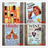 tin crafts - Fashion Hot Wine from around the world tin signs home decor House Cafe Bar iron painting Metal Craft gift