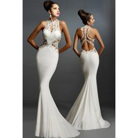 Wholesale Open Back Fine Flowers Wedding Evening Gown Vestidos Mullet Dresses Sexy backeless Tight Sweep Train Bridal Cheap Party Dress