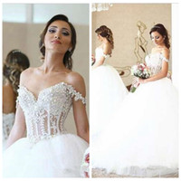 beautiful robe - 2016 Beautiful Romantic Lace Strips Pearls Beaded Custom Wedding Dresses Ball Gowns Robe De Mariee Bridal Gowns Ball Gown