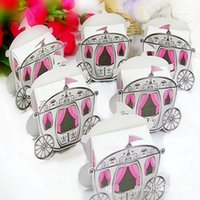 Wholesale 50Pcs Enchanted Carriage Candy Box DIY Folding Party Wedding Decoration Gift Paper Favors Packaging Boxes