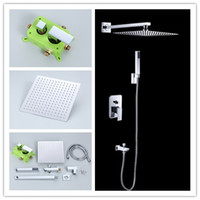 Wholesale improved high quality brass bathroom inwall concealed square shower sets faucets mixers taps inch inch inch inch avaliable