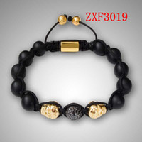 beads from natural stones - 2016 Nialaya natural stone needle Golden skeleton Bracelet Shamballa Bead Gold plated Adjustable Bracelet Come from American