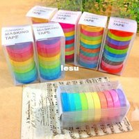 adhesive masking paper - New Arrive Rainbow Washi Sticky Paper Masking Adhesive Scrapbooking Decorative DIY Tape