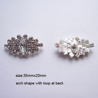 Wholesale Clear M0371 mmx20mm rhinestone button with loop silver plating