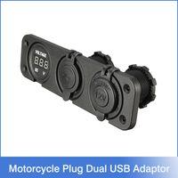 Wholesale Car Charger Motorcycle Plug Dual USB Adaptor V V Cigarette Lighter Socket Blue LED Digital Voltmeter For Phone IPod