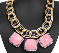 american decks - Hot Fashion mix order Europe Fashion Exaggeration double deck think thick Geometric squares Necklace for women
