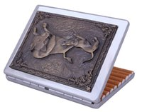 Wholesale NEW Russian style and practical crafts Embossed painting design Cigarette case Images of dogs and wild boar For hunter souvenir
