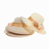ladies fashion hats - Fashion Straw Bowknot Derby Hats For Women Tricolor Flower Ribbon Summer Beach Floppy Caps For Ladies Travel EUN