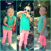 Cheap 2015 baby girl summer clothes green cotton vest + sleeveless coat + pink pant 3pc elegant girl sets hot sale girl gift 6sets