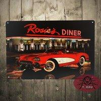auto posters vintage - Tin Signs Rosie s Diner antique autos vintage corvette metal posters