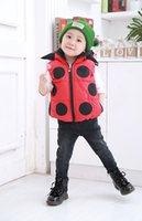 Wholesale 2016 Hot sale Children s autumn winter hooded outwear warm thick lovely little beetle zipper cotton Sleeveless waistcoats colors