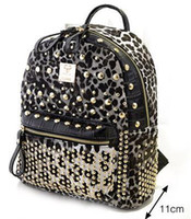 Wholesale Designer Backpack Bag Punk Rivets Leopard PU Leather New Arrival Cheap B2