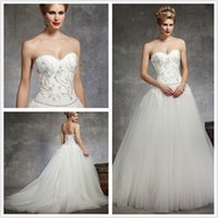 Wholesale 2014 Best Selling New Arrival Tulle A line Wedding Dresses With Beading Sweetheart Neck Sweep Train Backless Bridal Gown Sleeveless