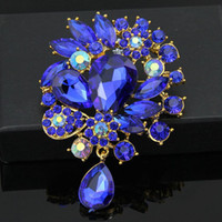 Wholesale danbihuabi brand royal blue large brooches for women sapphire jewelry vestido de noiva bijoux fashion women brooches jewelry