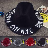 Wholesale New Fashion women wool autumn summer letter trilby hat Fedora hat Felt Hats Floppy fadora chapue hats FB007
