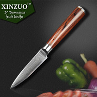 Wholesale 2015 HOT layers quot fruit knife Japanese VG10 Damascus steel kitchen knife with with Color wood handle