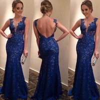 american prom dress - European American Celeb Bandage Dress Backless V neck Navy Lace Mermaid Party Dress Sexy Women Bodycon Prom Dresses S XL B45