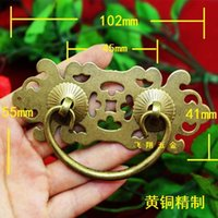 Cheap New Chinese ring-pull handle antique brass drawer handles Abduction hand minimalist living furniture antique copper handle