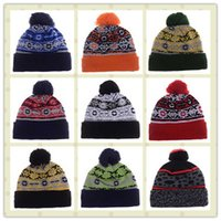 Wholesale Cool Sport Knit Hat American Football Team Beanies For Men Team Color Pom Beanie Knitted Hats Cotton Basketball Sports Winter Hat
