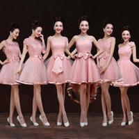 A-Line beautiful group - 2015 wedding dressees Beautiful Six style Bridesmaid Dresses Hade Made Bow Sister group Sleeveless A Line Forrmal Homecoming Gowns for party