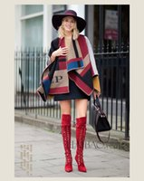 Christmas wool blanket - 2015 Fall Autumn Fashion Womens Oversize Cape Poncho Blanket Scarfs Shawl Cozy Warm Patchwork Wool Bend Tartan Wraps C30 p