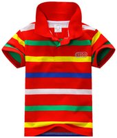 Wholesale 2015 Fashion Boy t Shirts Children Short Sleeve Rainbow Striped Kids Tops Jersey