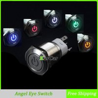 angels c - 16mm V LED Car Truck Angel Eye Stainless Steel Power Metal Button Switch DIY Moto Flat Head Latching Push Start A VAC