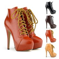 Wholesale Chaussure Femme Ladies High Heels Lace Up Platform Stiletto Ankle Boots Pu Shoes Faux Leather Women US SIZE D0050