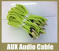 Wholesale round AUX audio cable with long metal head m audio cable male to male mm fit iphone4 ipad PC car headphone CD player colorful CAB036