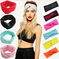 hair turban - Candy Colors Twist Knot Headband Stretch Lycra Brand Turban Hair Band Cross Headbands Yoga Headwear Girl Hair Accessories Bow