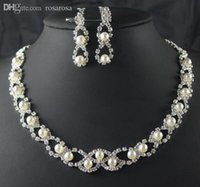 Wholesale New Twisty Rhinestone Imitate Pearl Bridal Wedding Jewelry Sets African Jewelry Sets Necklace and Earrings Set Party Gifts