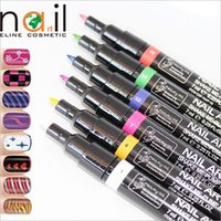 nail art pen - 16 Colors Nail Painting Art Pen DIY Drawing A Line Pull Pen Nail Polish Pen Painting Gel