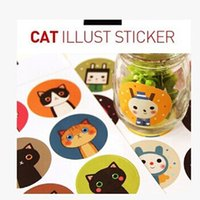 Cheap Waterproof Lovely Cat Kitty Multifunction Stickers Round Sealing Stickers 18 Pieces Cats   Set Cute Stickers Kindergarten Reward