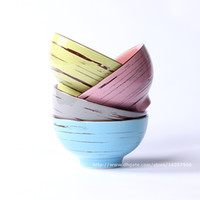 Wholesale Japanese Ceramic Rice Bowls Set of Color Cracking Glaze Hand Painted Circle inch Pink Blue Yellow Grey