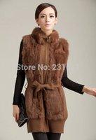 beaver fur vest - Good quality Autumn and winter women s fashion genuine Beaver rabbit fur vest knitted long vest waistcoat XXXL