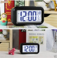 Wholesale Digital LCD Screen Mini Desktop LED Projector Alarm Clock Multi function with Snooze Blue Backlight Calendar