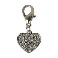 basic decorations - 20pcs HEART Tags Pet Pendant Collar Rhinestone Bling Charms with hooks for Dog Pet Decoration Accessories