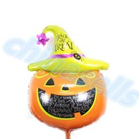 aluminum foil hat - new Big size kid cartoon halloween magic pumpkin hat bat aluminum balloons child birthday party halloween decoration foil balloon