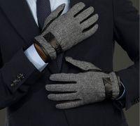Wholesale Manufacturers selling autumn winter leather gloves Male import sheepskin light grey joker fashion gloves