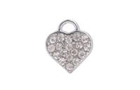 Wholesale Love Tone - 20 PCS Fashion Silver Tone Pave Rhinestone Heart Charms DIY accessories #92182
