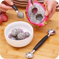 Wholesale 20pcs Novel Stalinless Steel Cook Dual Double Melon Baller Ice Cream Scoop Fruit Spoon Tools hot sale