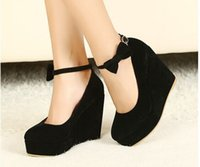 ladies shoes low price - Low Price New Sexy Women Fashion Buckle ladies Shoes Vogue Wedges RED APRICOT BLACK High Heels Platform Pumps j3415
