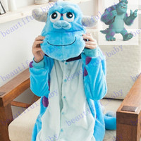 Wholesale New Arrival Monsters University Mike Wazowski Sulley Onesies Pajamas Jumpsuit Hoodies Adults Cosplay Costumes