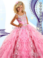 beaded bow applique - 2016 Hot Sale Pink Glitz Girl s Pageant Dresses Princess Ruffle Beaded Tiered Organza Girl s Formal Dresses Flower Girl Gowns RG6454