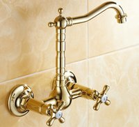 bathroon sink - Retro Golden Wall Mounted Swan Style Faucets Kitchen Sink Bathroon Basin Sink Mixer Tap Noble Gorgeous G09