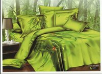 Home bamboo duvets - Green bamboo ladybug reactive printing bedding bed linens cotton queen with reversible duvet cover flat sheet pillowsham pc comforter set